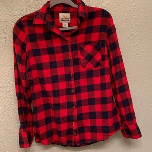 Navy and red plaid flannel